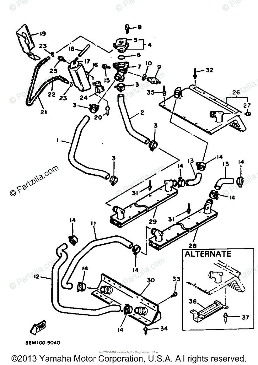 Yamaha Snowmobile 1991 OEM Parts Diagram for Radiator Hose