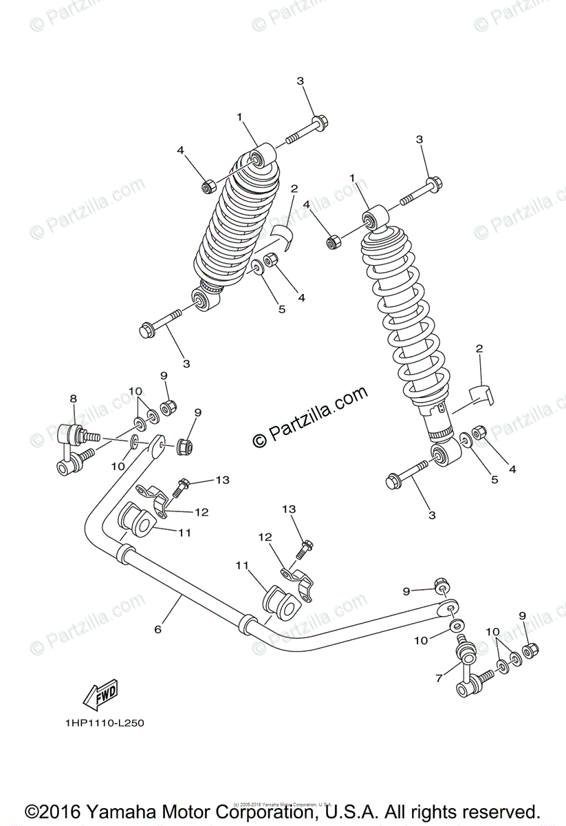 Yamaha ATV 2014 OEM Parts Diagram for Rear suspension
