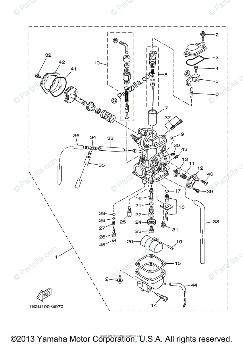 Yamaha Motorcycle 2008 OEM Parts Diagram for Carburetor