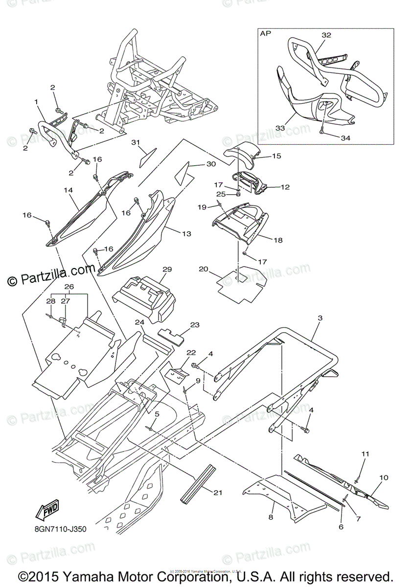 Yamaha Snowmobile 2011 OEM Parts Diagram for Bumper
