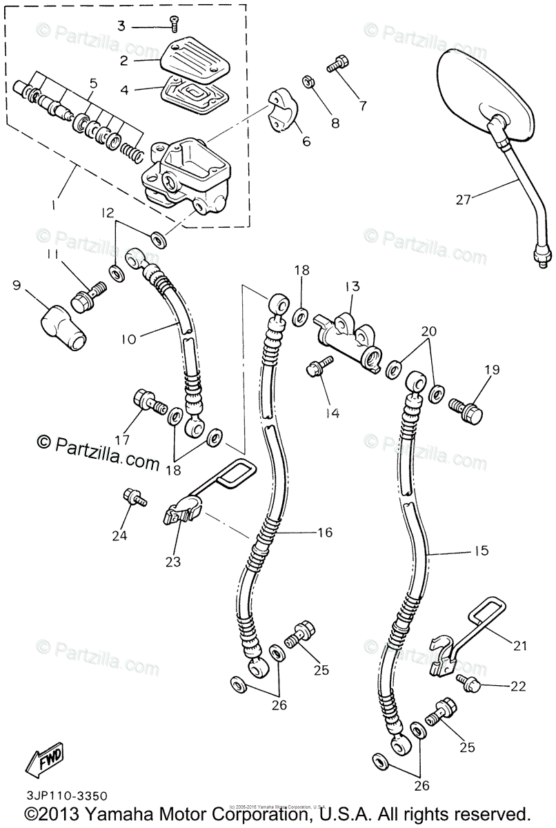 Yamaha Motorcycle 2002 OEM Parts Diagram for Front Master