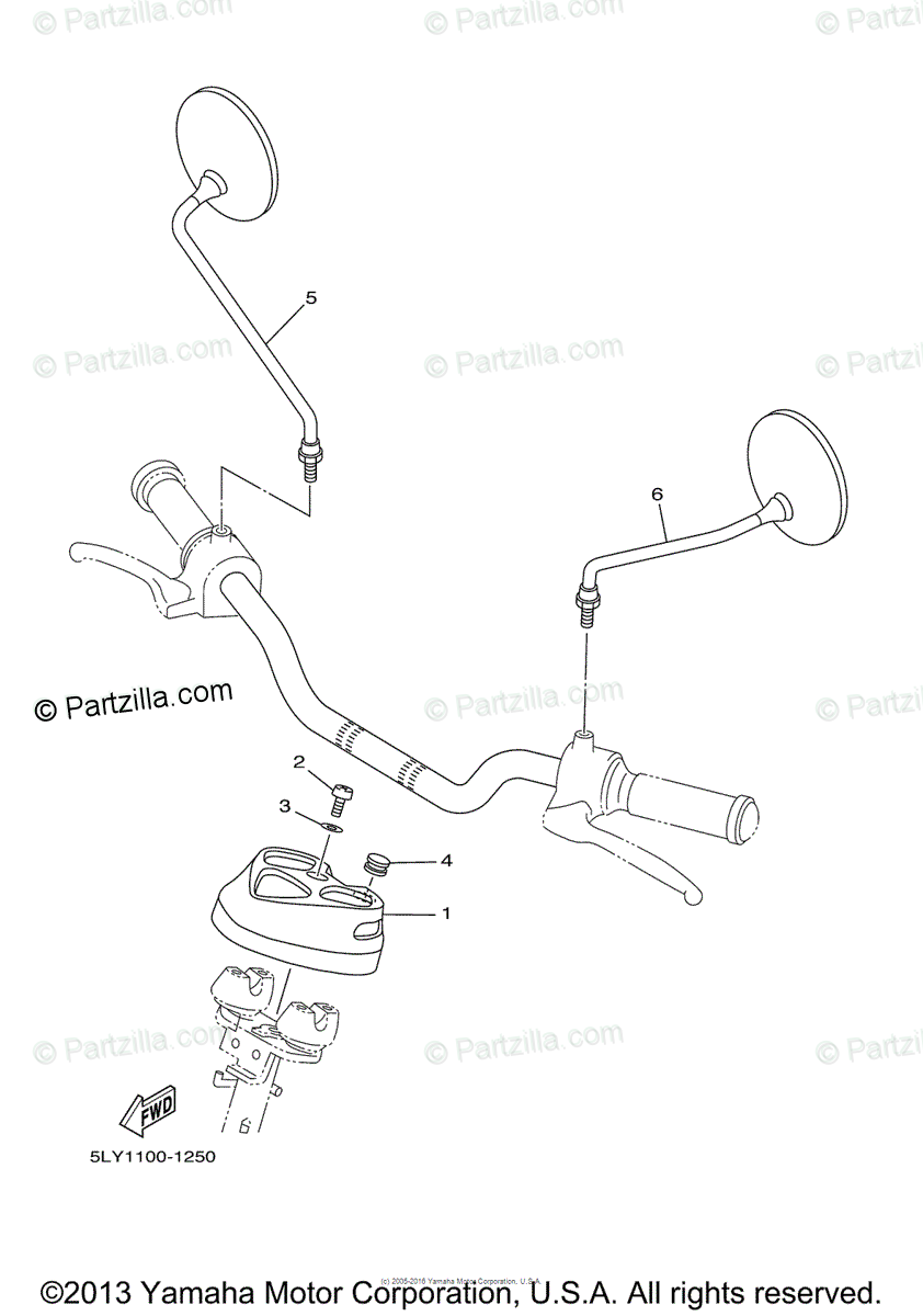 Yamaha Scooter 2002 OEM Parts Diagram for Cowling 1