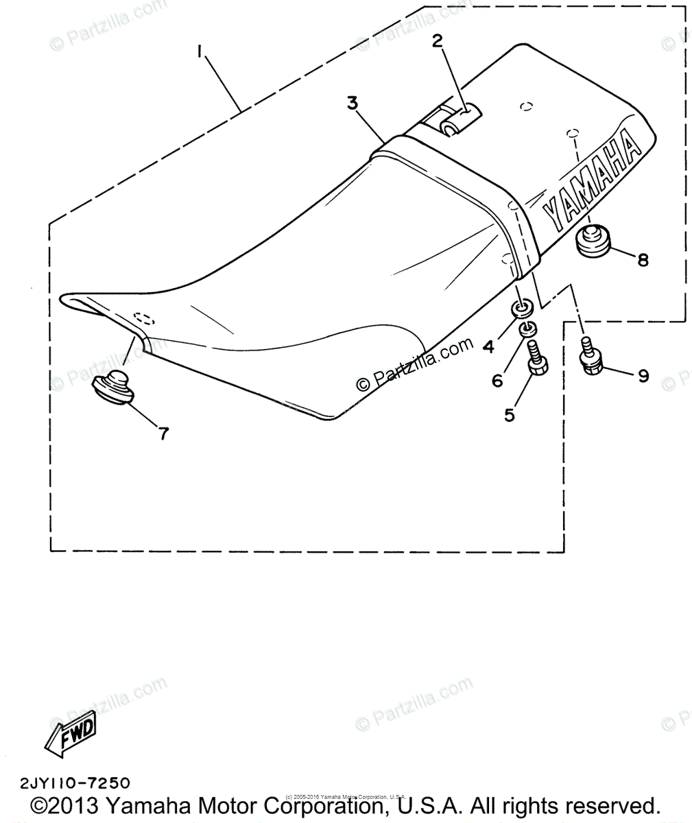 Yamaha Motorcycle 2002 OEM Parts Diagram for Seat