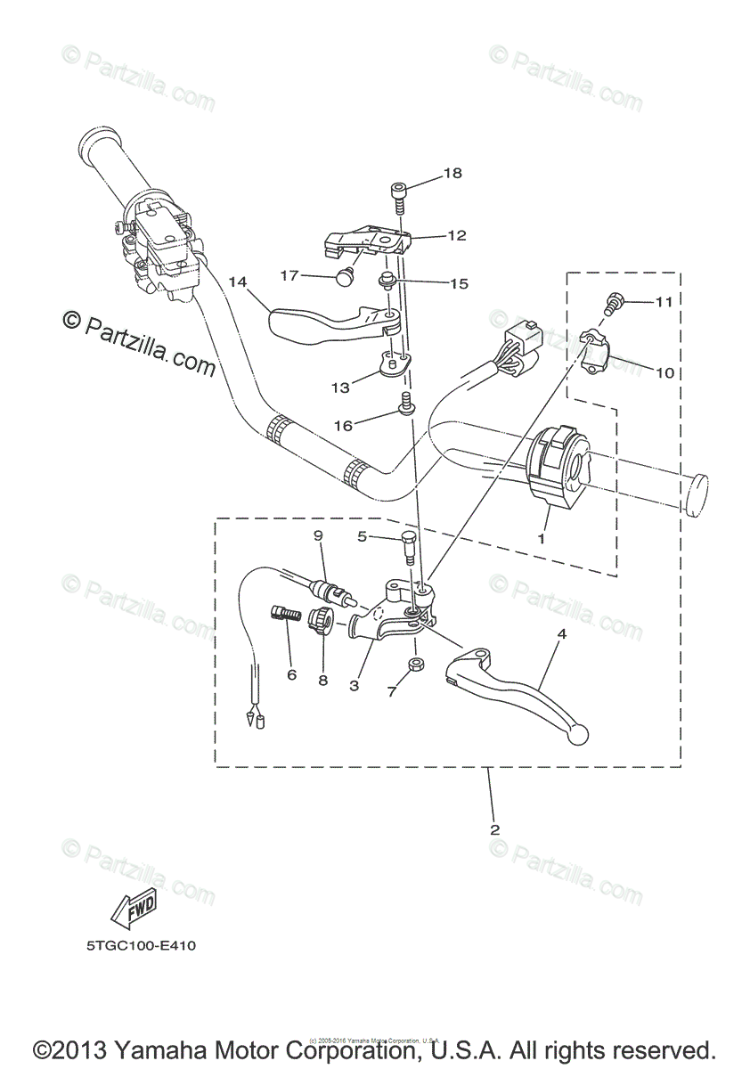 Yamaha ATV 2006 OEM Parts Diagram for Handle Switch-Lever