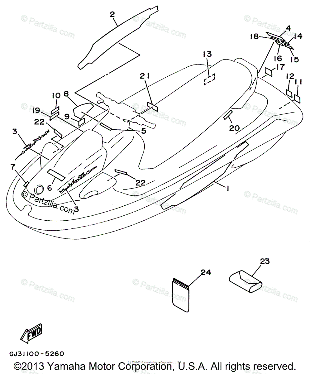 Yamaha Waverunner 1995 OEM Parts Diagram for GRAPHIC 1
