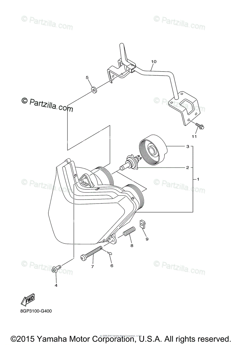 Yamaha Snowmobile 2011 OEM Parts Diagram for Headlight