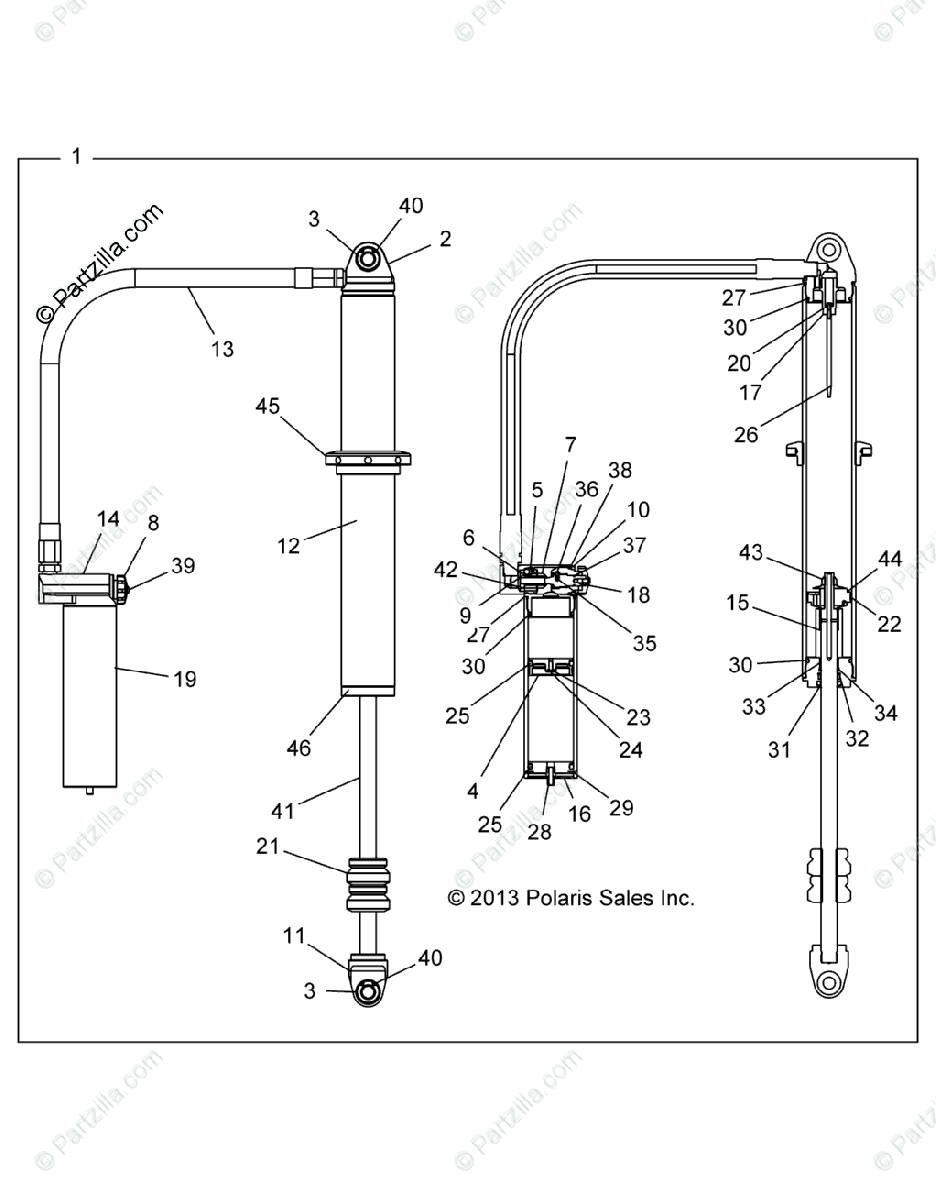 Polaris Side by Side 2015 OEM Parts Diagram for Suspension