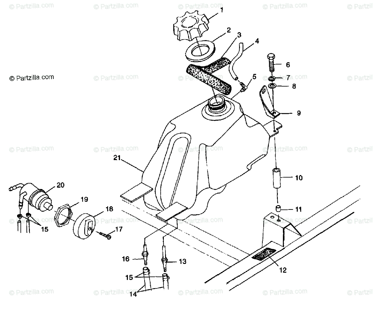 Polaris ATV 1998 OEM Parts Diagram for Fuel Tank S98ch50e