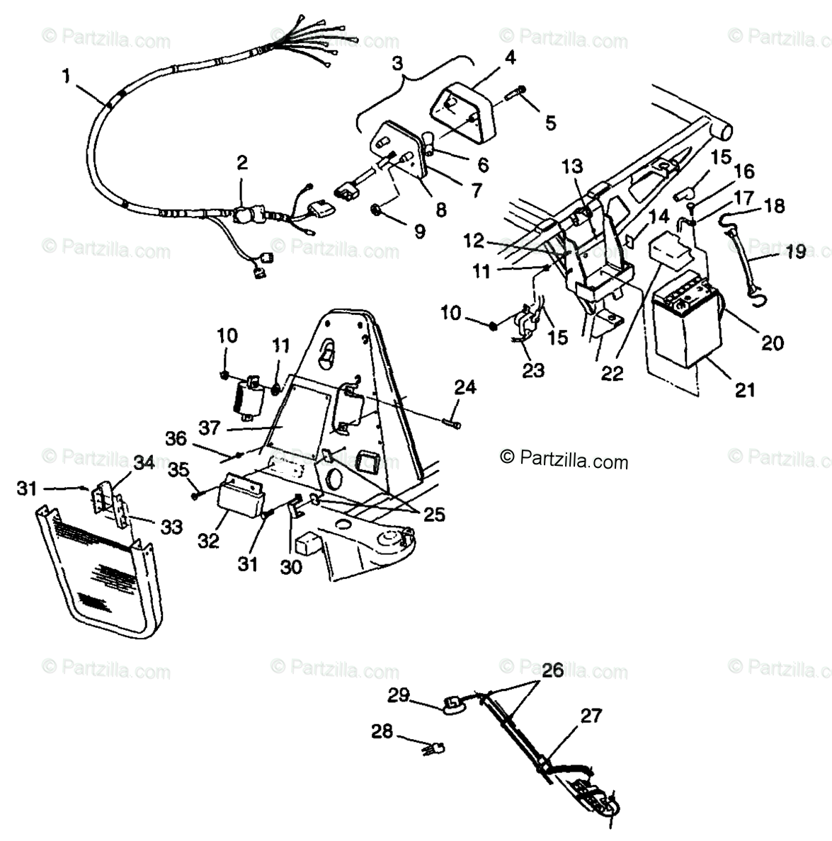 Polaris ATV 1998 OEM Parts Diagram for Electrical
