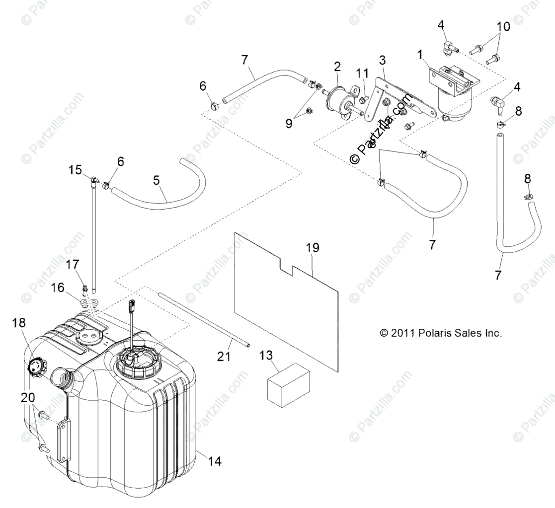 Polaris Side by Side 2013 OEM Parts Diagram for Body, Fuel