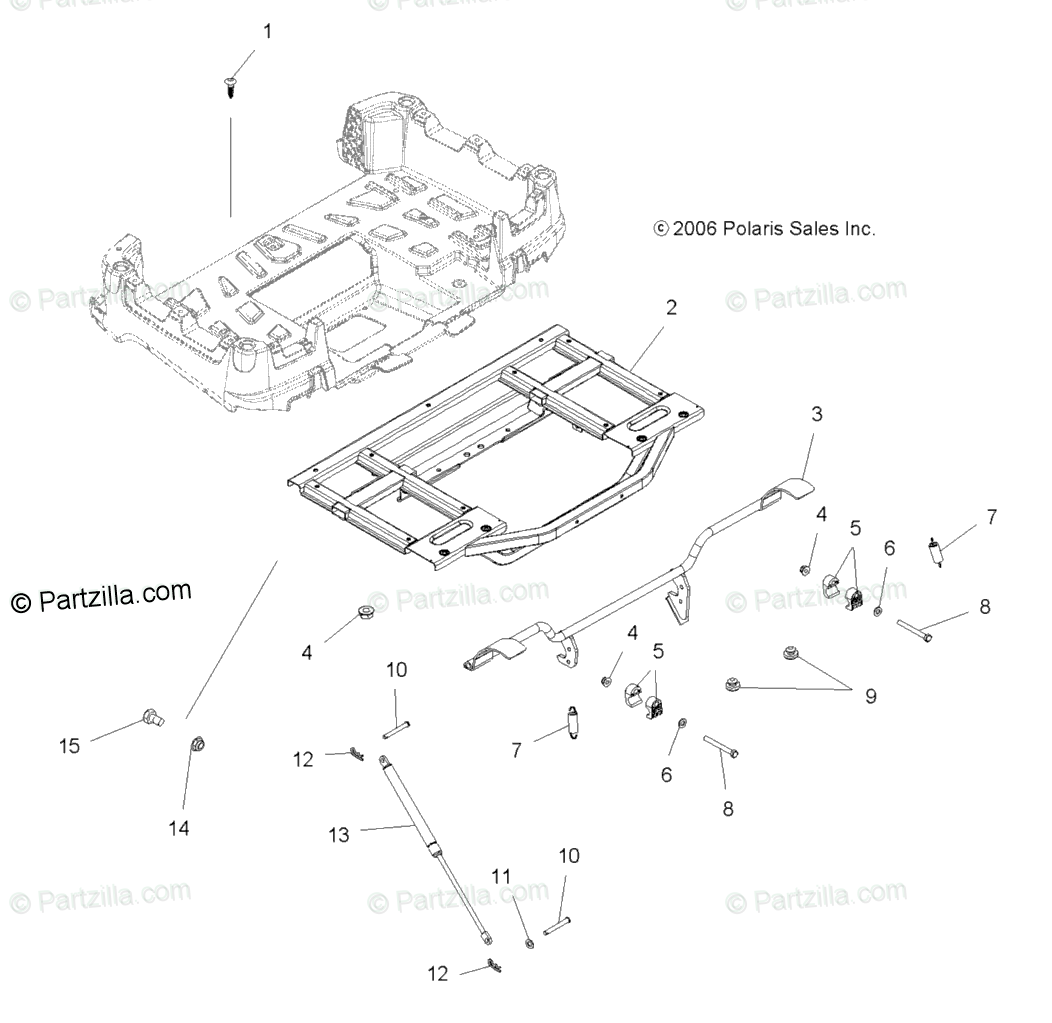 Polaris ATV 2007 OEM Parts Diagram for Box Frame