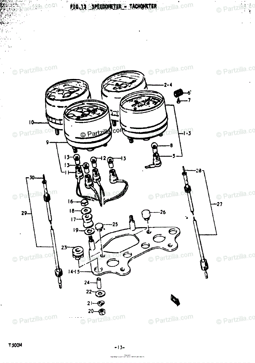 Suzuki Motorcycle 1973 OEM Parts Diagram for Speedometer