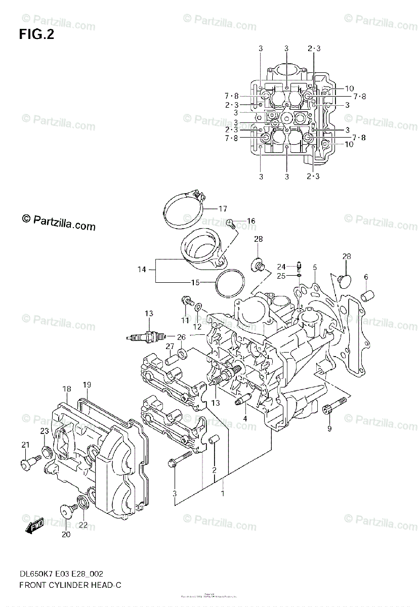 Suzuki Motorcycle 2007 OEM Parts Diagram for Front