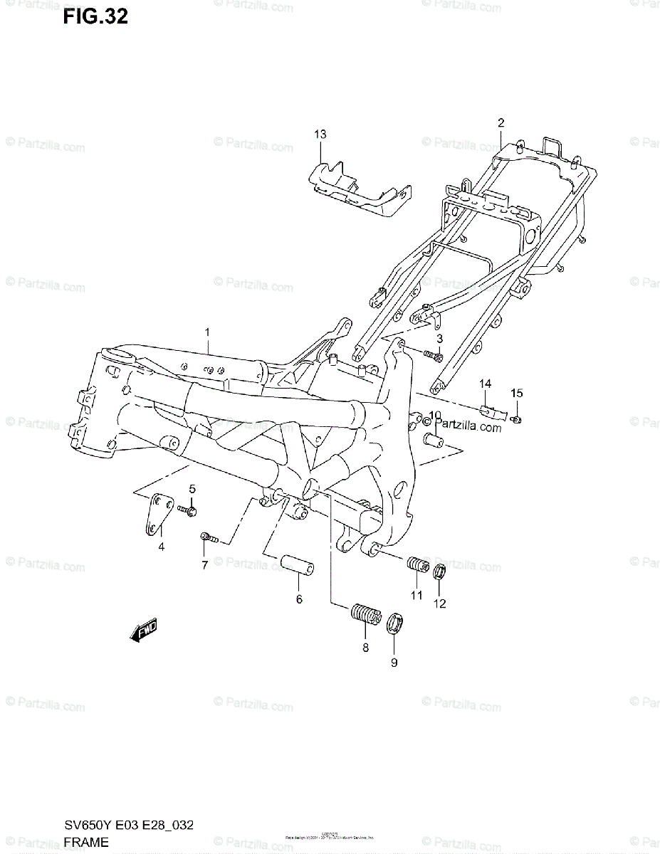 Suzuki Motorcycle 2001 OEM Parts Diagram for FRAME (MODEL
