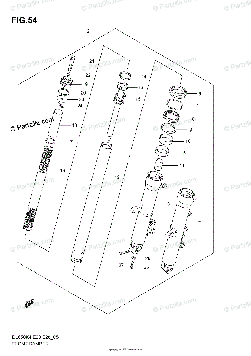 Suzuki Motorcycle 2004 OEM Parts Diagram for Front Damper