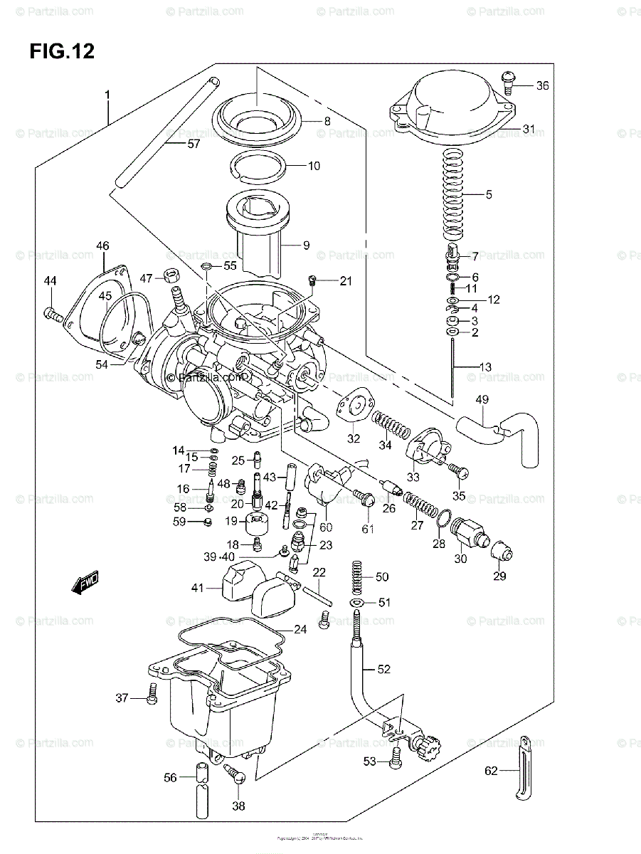 Suzuki ATV 2005 OEM Parts Diagram for Carburetor