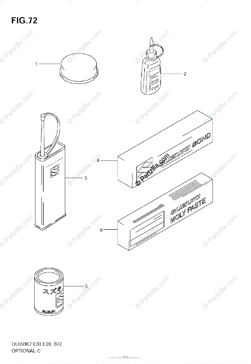Suzuki Motorcycle 2009 OEM Parts Diagram for Optional