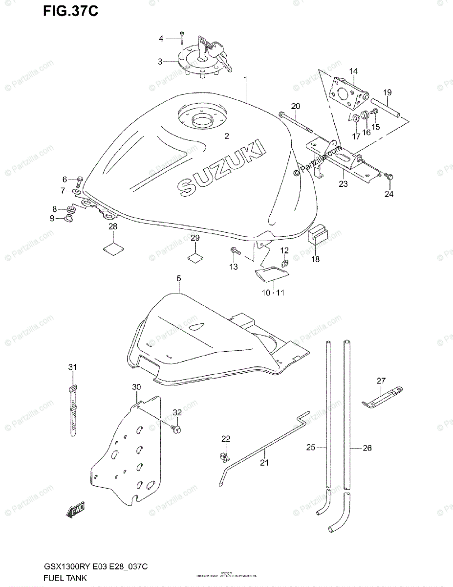 Suzuki Motorcycle 1999 OEM Parts Diagram for FUEL TANK