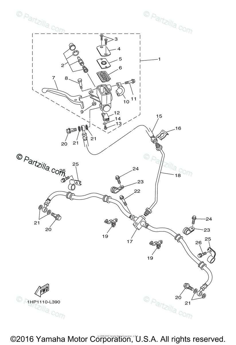 Yamaha ATV 2012 OEM Parts Diagram for Front Master