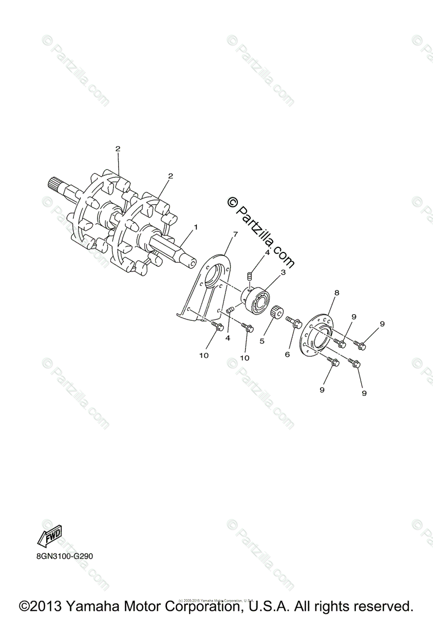 Yamaha Snowmobile 2008 OEM Parts Diagram for Track Drive 1