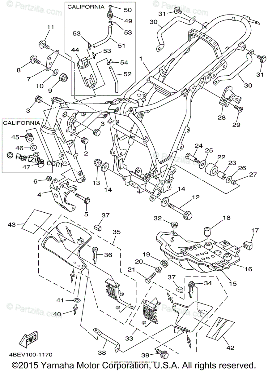 Yamaha Motorcycle 2001 OEM Parts Diagram for Frame