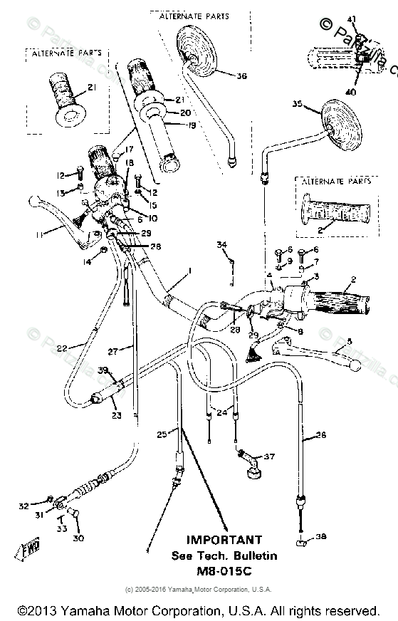 Yamaha Motorcycle 1973 OEM Parts Diagram for HANDLE- WIRE