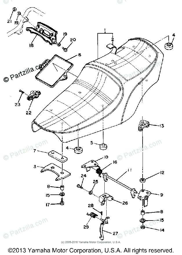 Yamaha Motorcycle 1978 OEM Parts Diagram for Seat