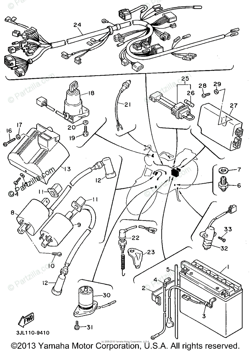Yamaha Motorcycle 1994 OEM Parts Diagram for Electrical