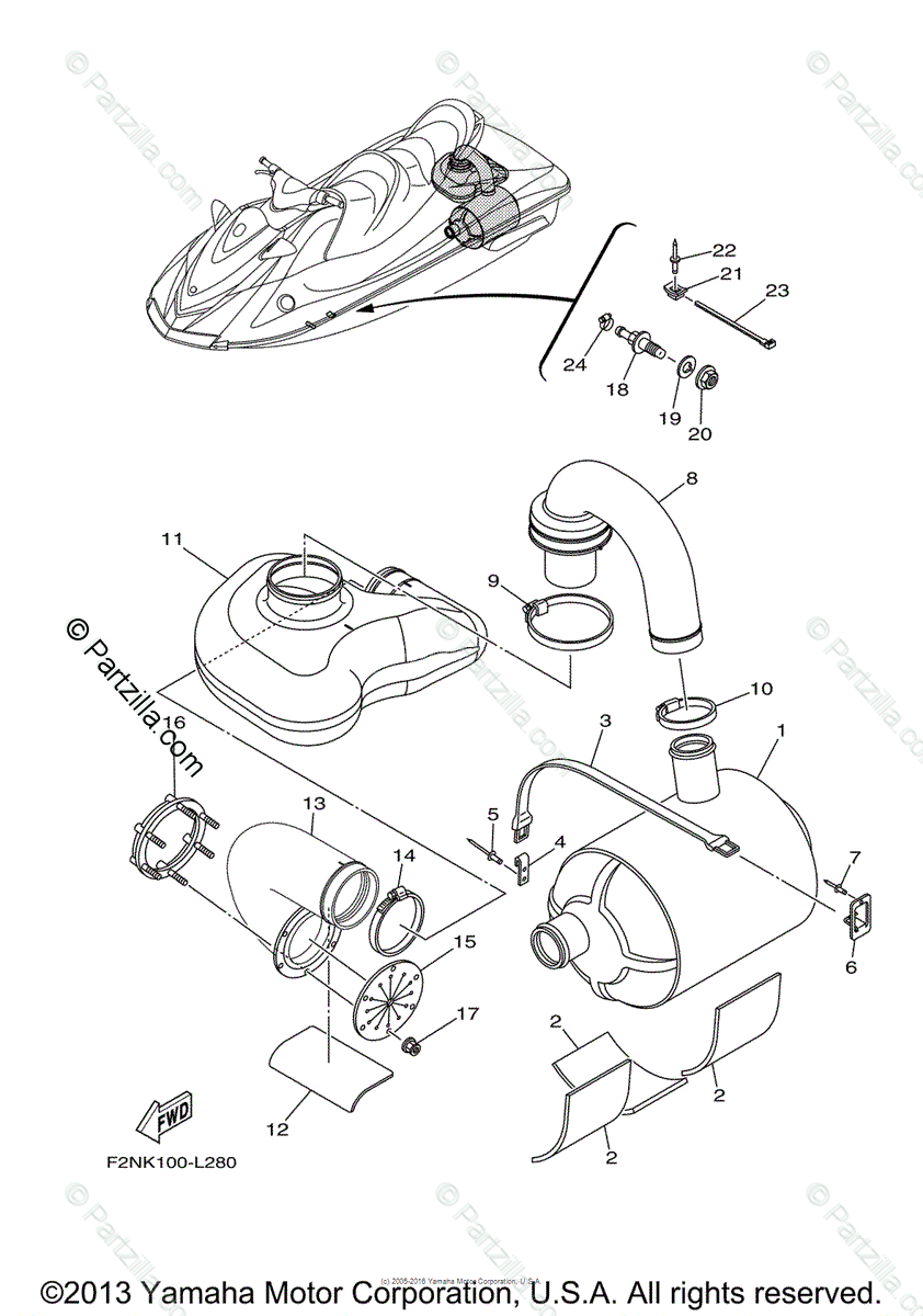 Yamaha Waverunner 2012 OEM Parts Diagram for EXHAUST 4