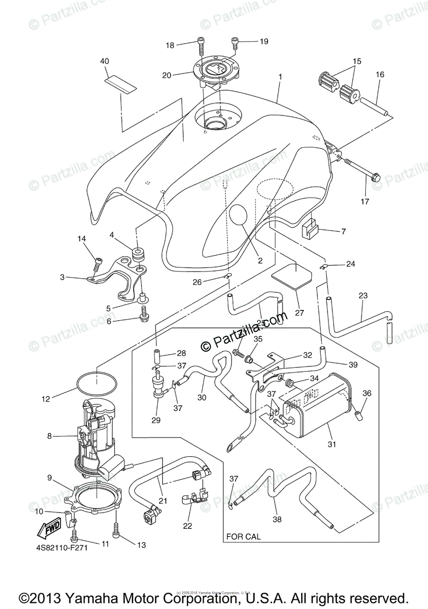 Yamaha Motorcycle 2009 OEM Parts Diagram for Fuel Tank