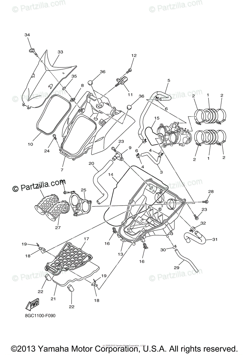 Yamaha Snowmobile 2007 OEM Parts Diagram for Intake