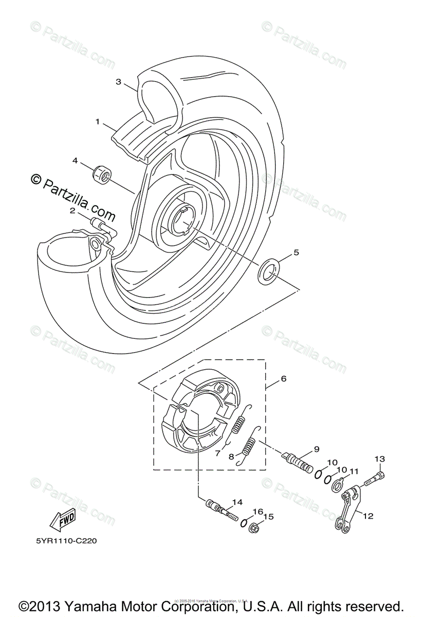 Yamaha Scooter 2007 OEM Parts Diagram for Rear Wheel