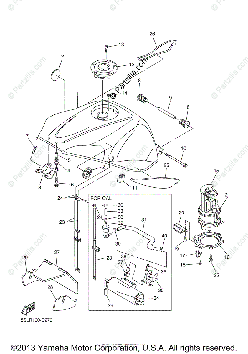Yamaha Motorcycle 2005 OEM Parts Diagram for Fuel Tank
