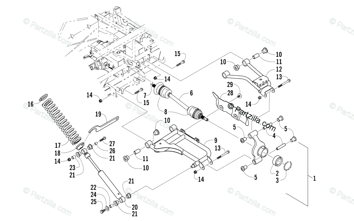 Arctic Cat Side by Side 2008 OEM Parts Diagram for Rear