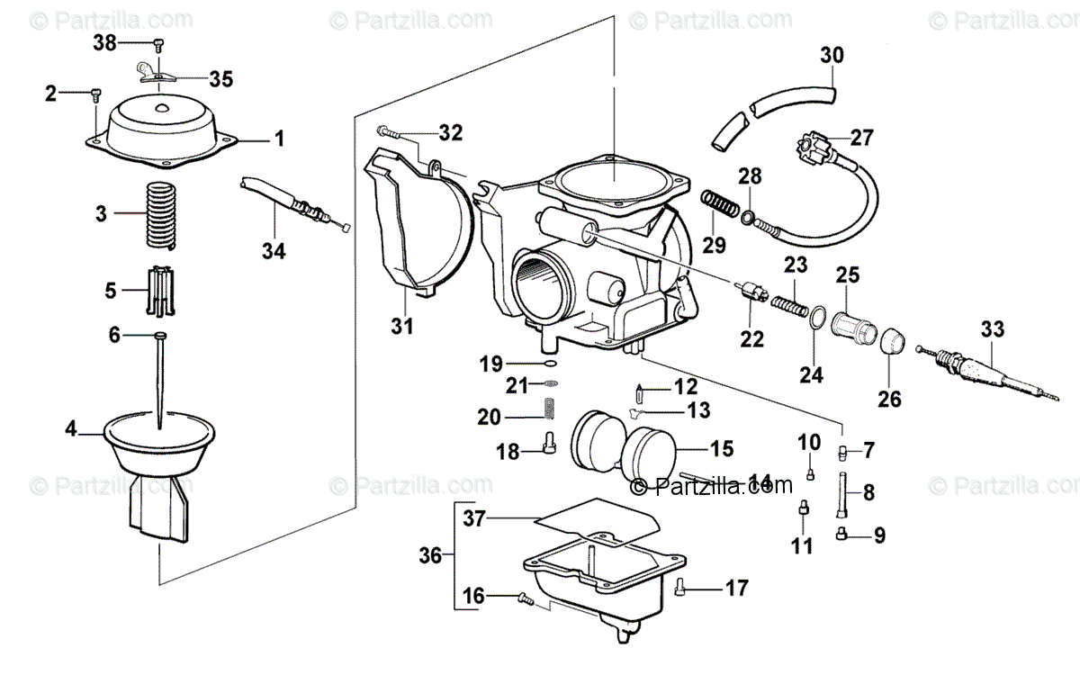 Arctic Cat ATV 2001 OEM Parts Diagram for Carburetor (300