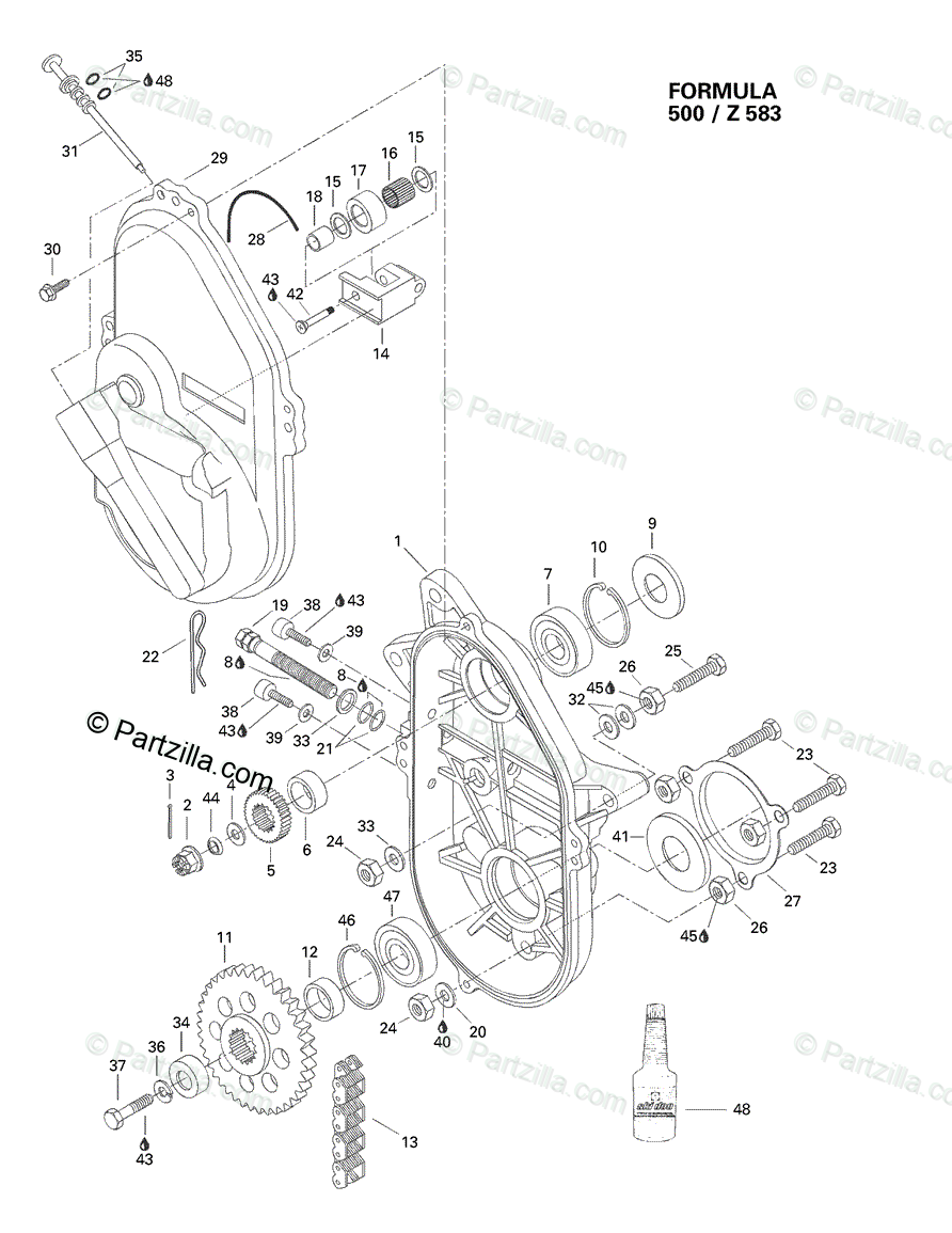 Ski-Doo 1998 FORMULA 500 OEM Parts Diagram for Chaincase