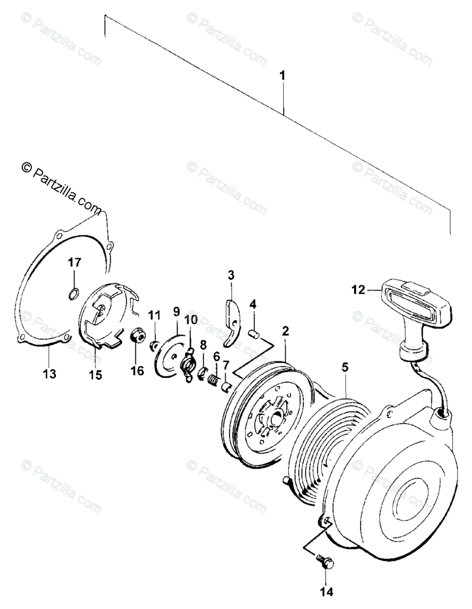 Arctic Cat ATV 2001 OEM Parts Diagram for Recoil Starter