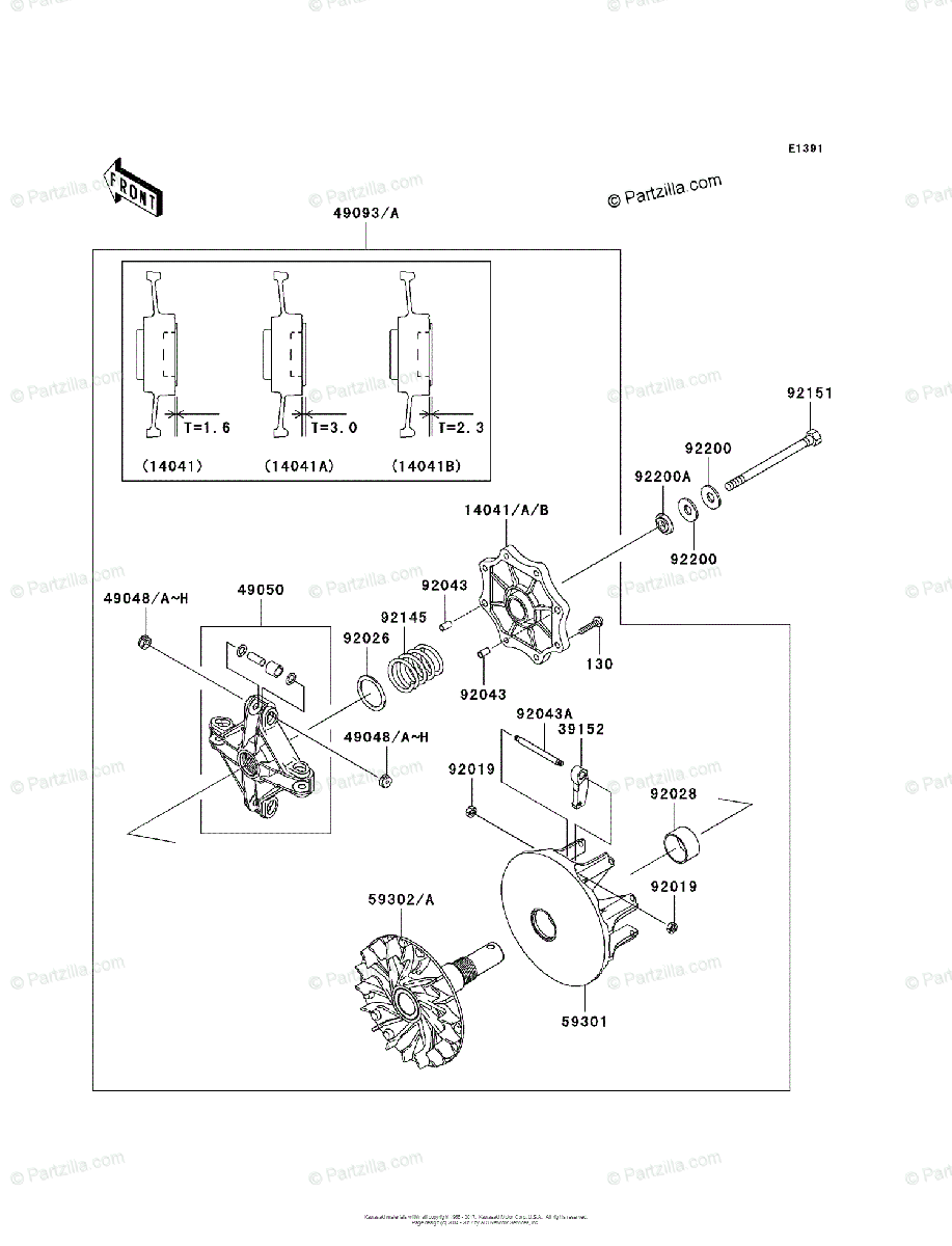 Kawasaki ATV 2004 OEM Parts Diagram for Drive Converter