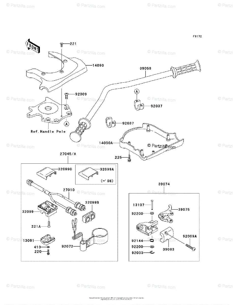 Kawasaki Jet Ski 2008 OEM Parts Diagram for Handlebar
