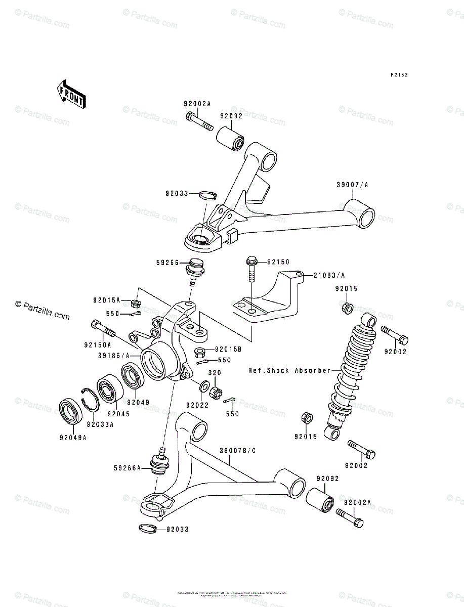 Kawasaki ATV 1989 OEM Parts Diagram for Front Suspension