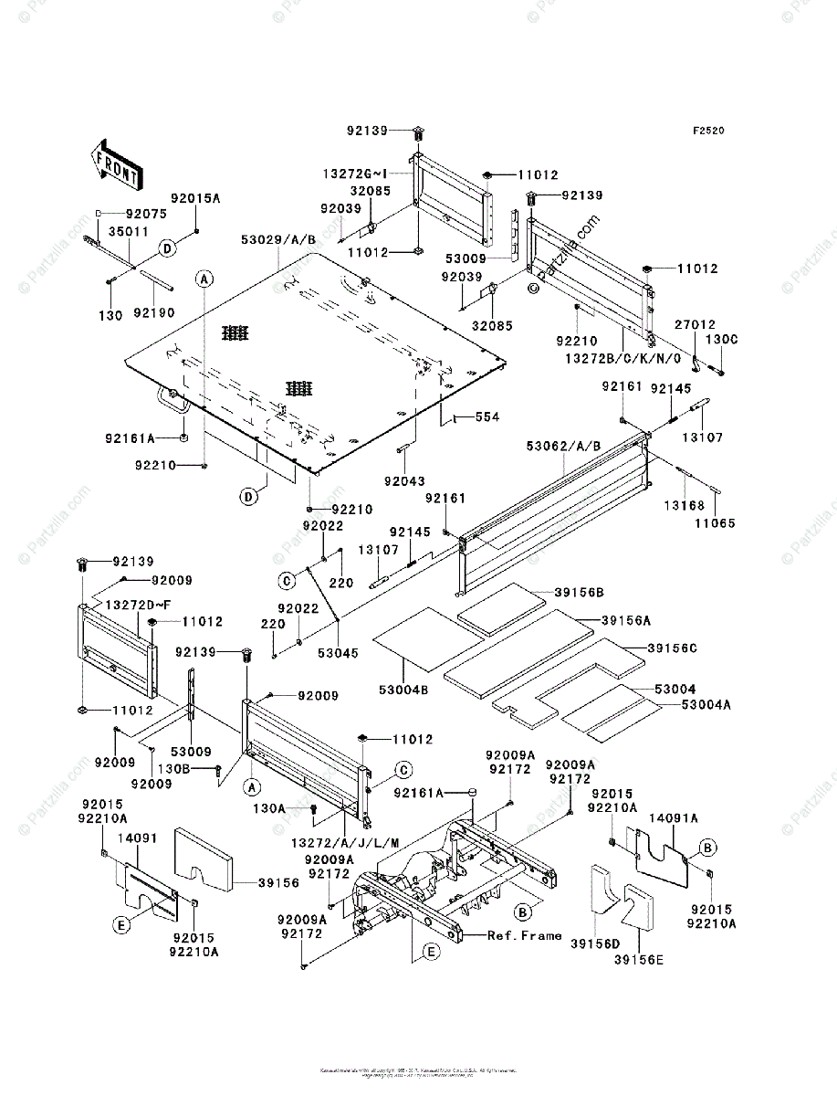 Kawasaki Side by Side 2012 OEM Parts Diagram for Carrier(s