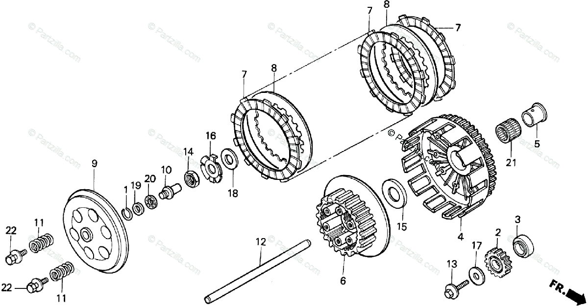 Honda Motorcycle 1992 OEM Parts Diagram for Clutch