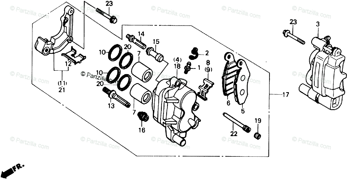 Honda ATV 1986 OEM Parts Diagram for Front Brake-Caliper