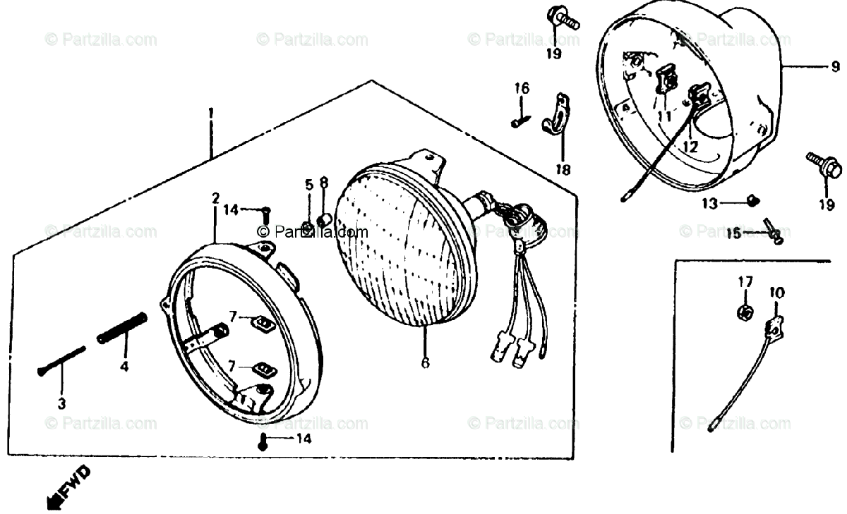 Honda Motorcycle 1985 OEM Parts Diagram for Headlight