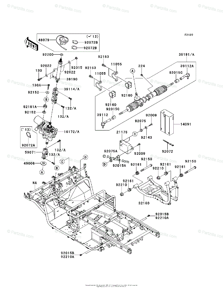 Kawasaki Side by Side 2012 OEM Parts Diagram for Frame