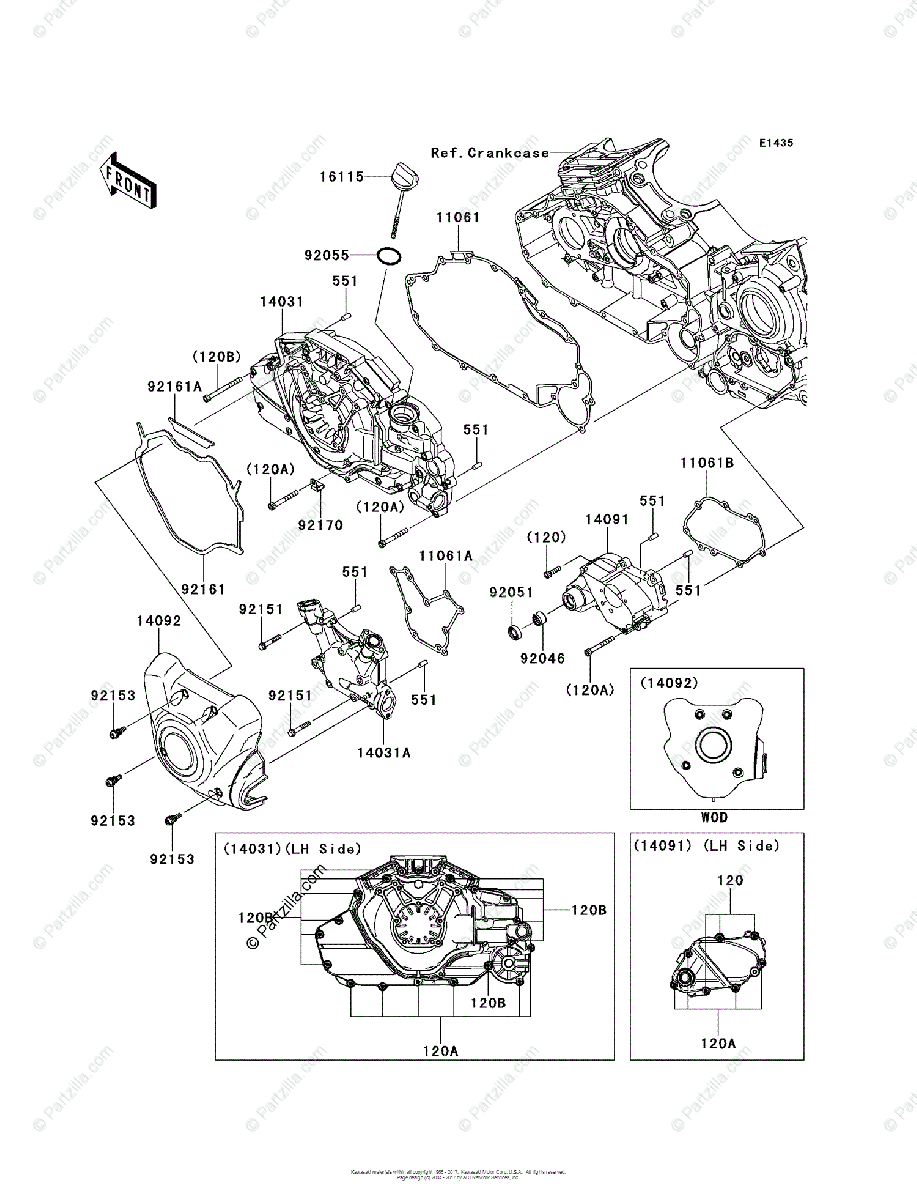 Kawasaki Motorcycle 2011 OEM Parts Diagram for Left Engine