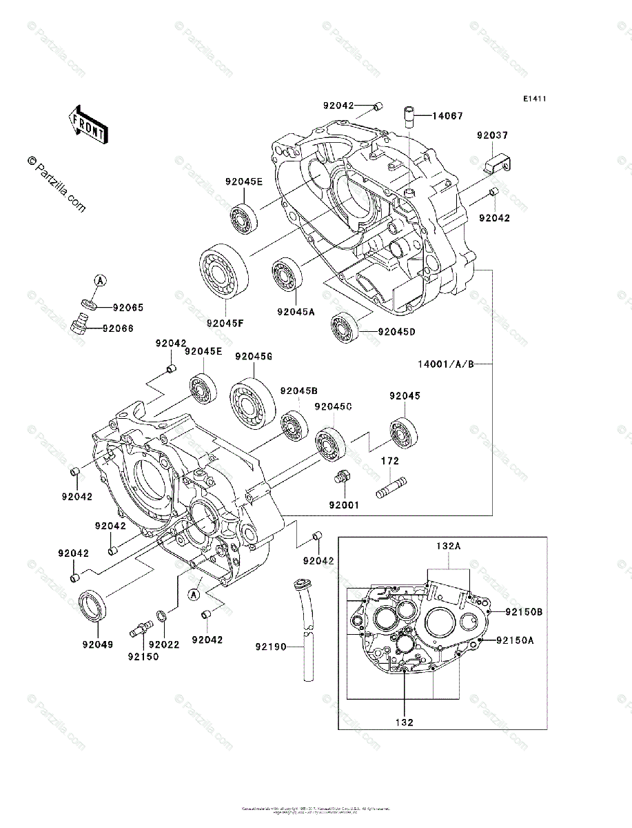 Kawasaki Motorcycle 1999 OEM Parts Diagram for Crankcase