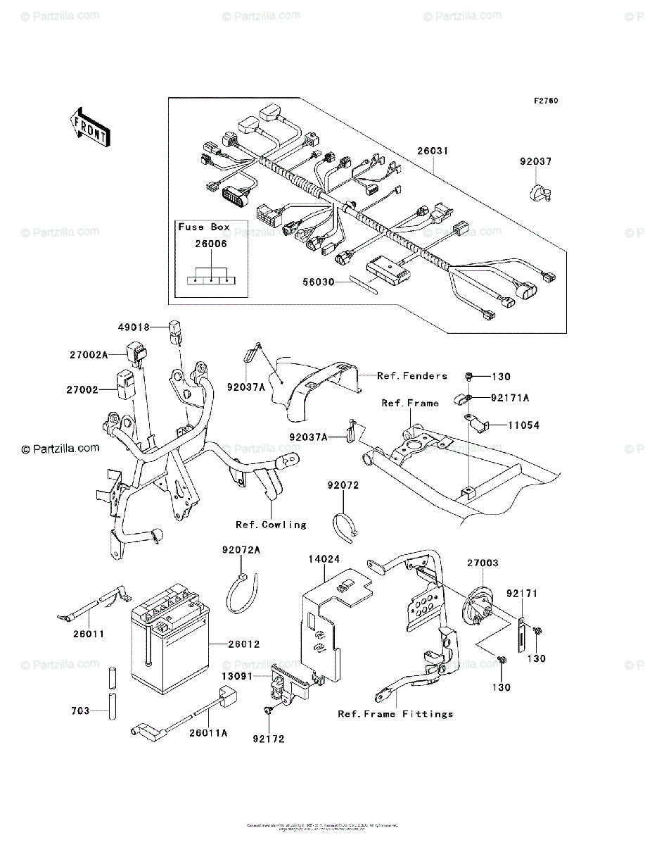 Kawasaki Motorcycle 2013 OEM Parts Diagram for Chassis