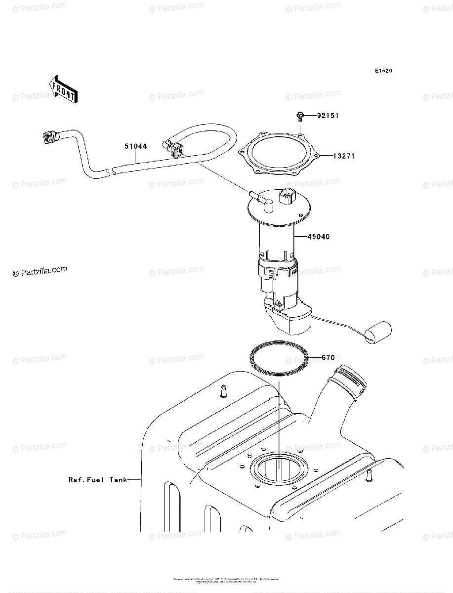 Kawasaki Side by Side 2009 OEM Parts Diagram for Fuel Pump