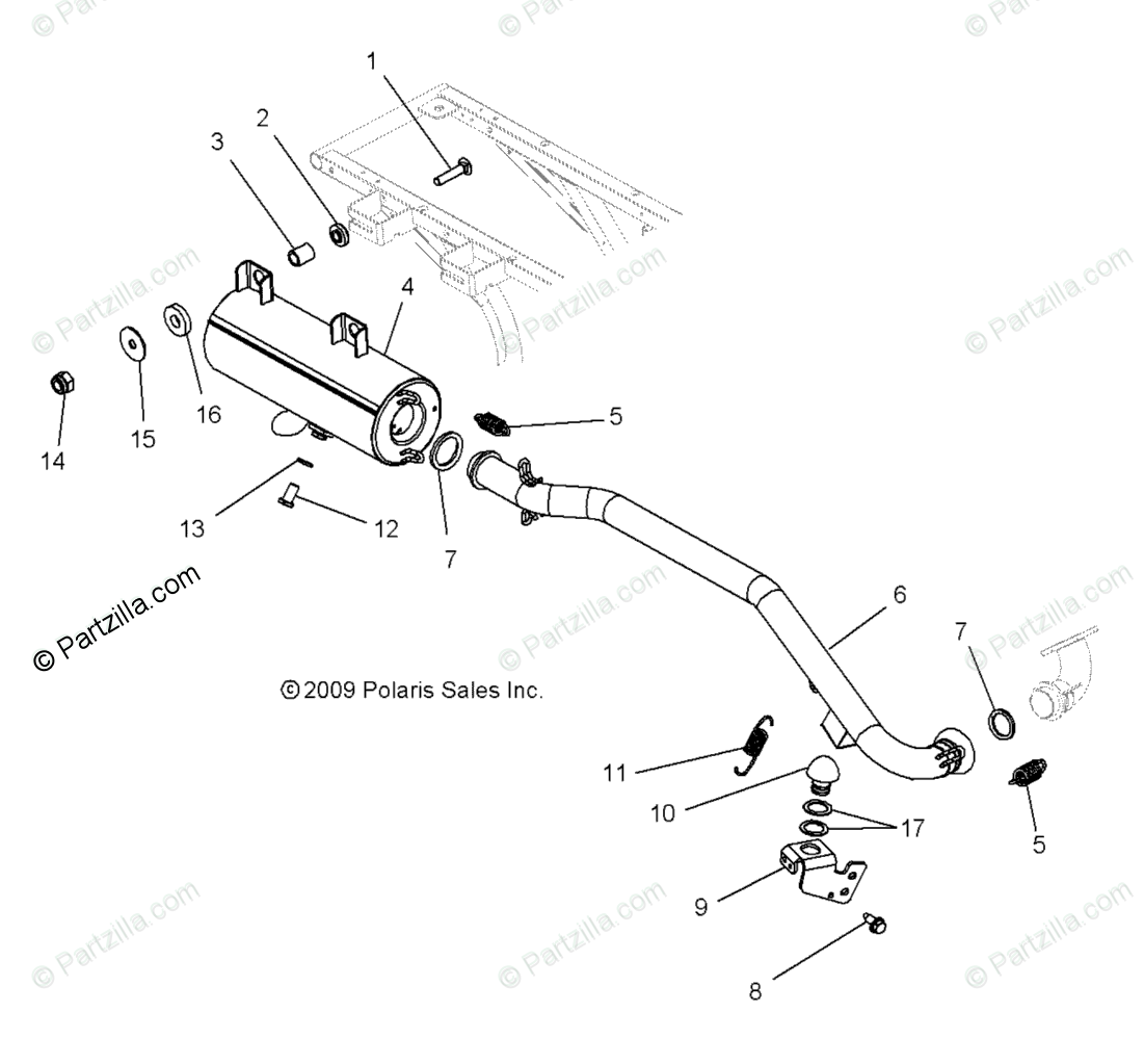 Polaris ATV 2010 OEM Parts Diagram for Engine, Exhaust